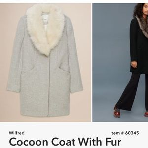 Wilfred Cocoon Coat with Fur